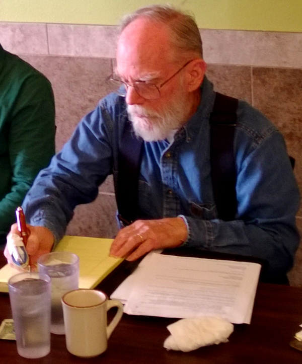 Tom taking notes at VOTS board meeting January 2014